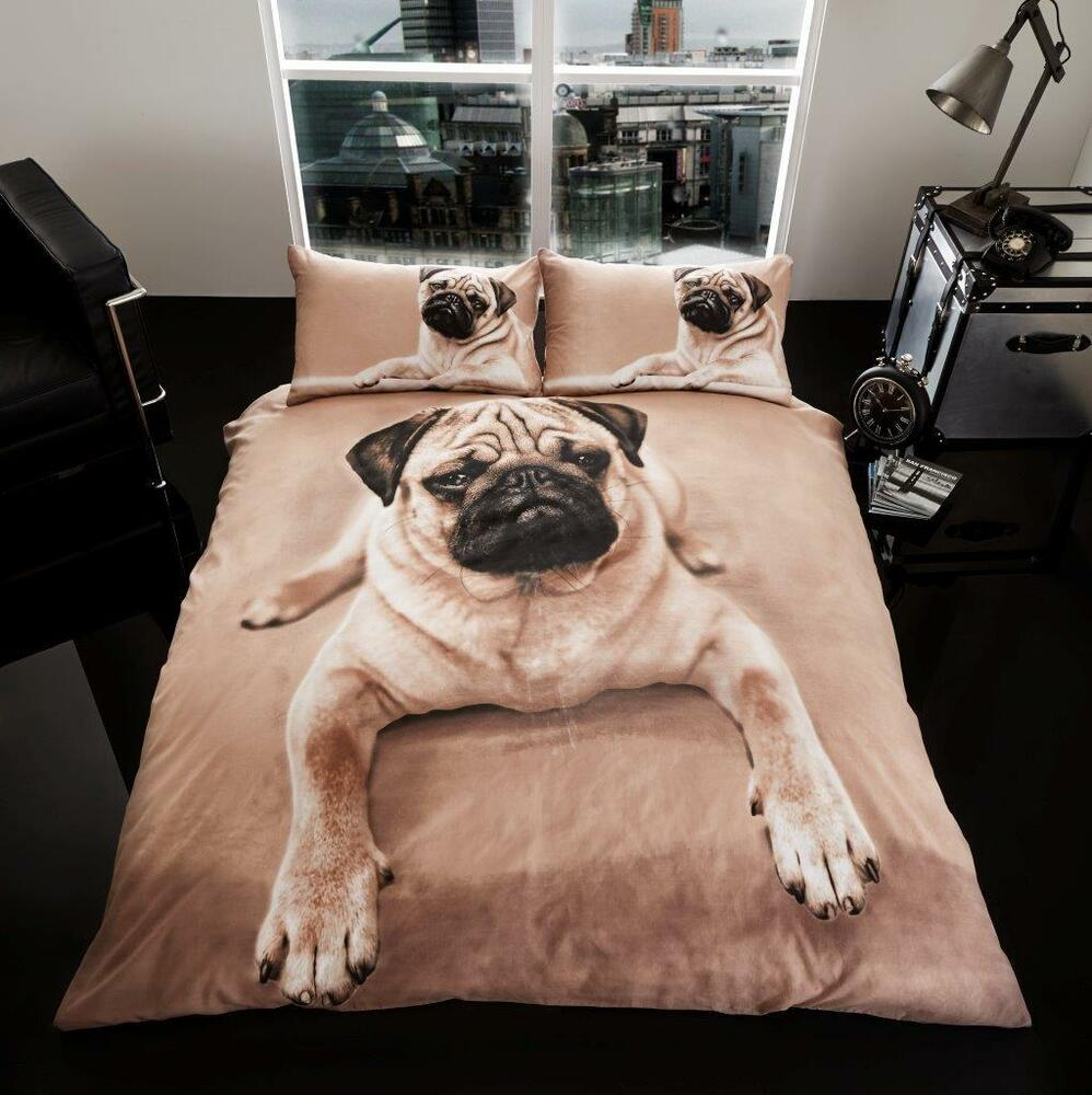luxury 3d pug duvet quilt cover set with pillow cases bed