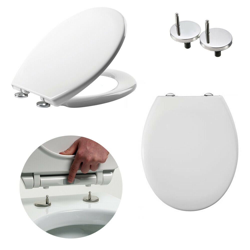 Alliance Luxury Round Soft Close Toilet Seat Top Fix Plastic Hinges Heavy Dut