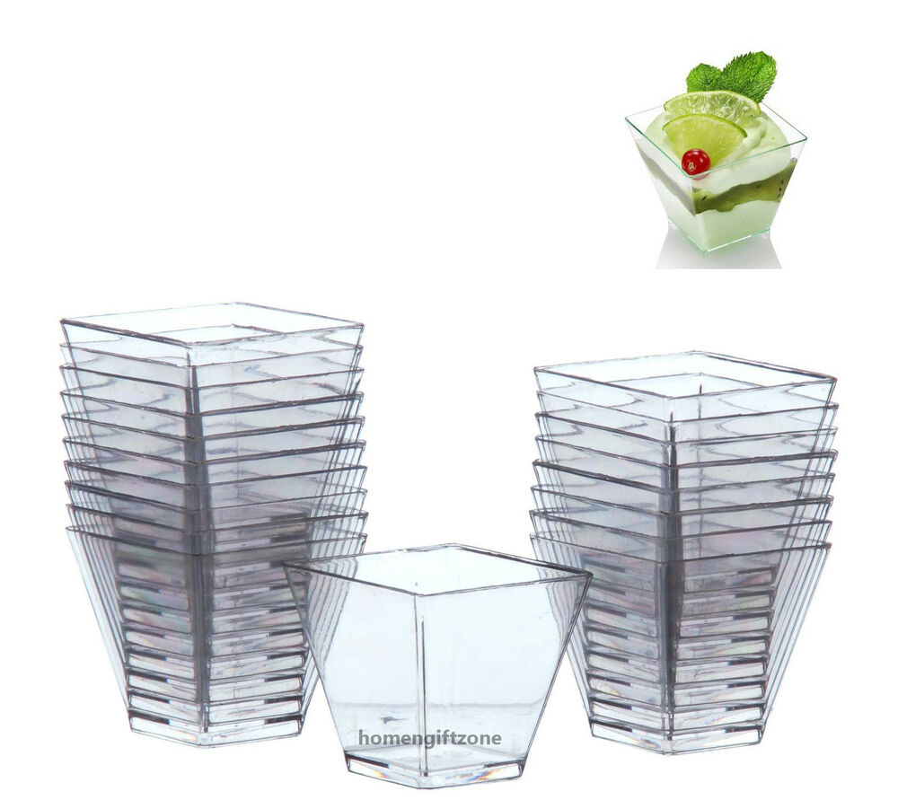 Mini small plastic 2oz cube x 20 disposable dessert cup for Where to buy canape cups