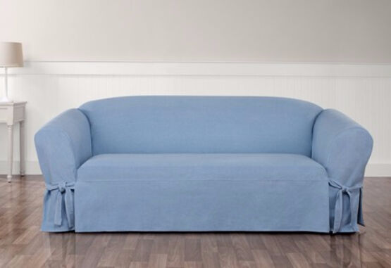 Authentic denim light blue one piece loveseat slipcover by sure fit slip cover ebay Blue loveseat slipcover