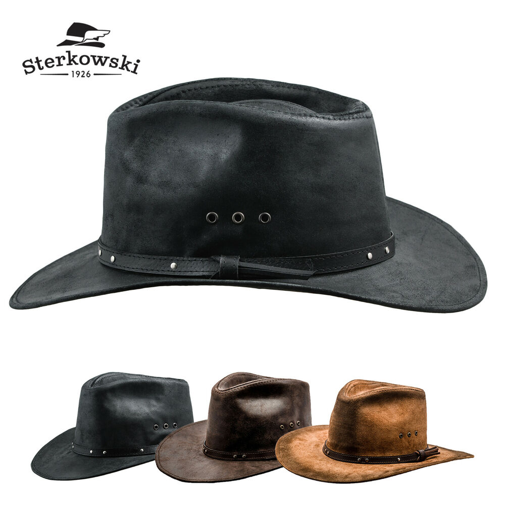 Details about Genuine Leather Western Rancher Hat MANY SIZES Cowboy  Cattleman Outback Vintage 7f103f9400a