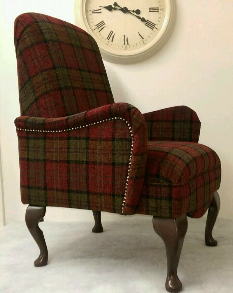 shabby chic red lana tartan small bedroom armchair free. Black Bedroom Furniture Sets. Home Design Ideas