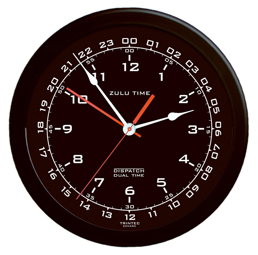 Zulu Time Aviation Wall Clock By Trintec 14 Quot Black