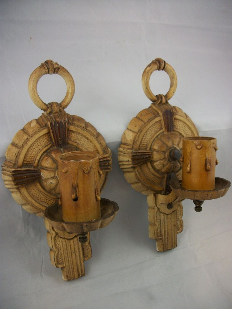 pair of antique art deco sconces vtg wall lights puritan 1920 39 s hammered tudor ebay. Black Bedroom Furniture Sets. Home Design Ideas