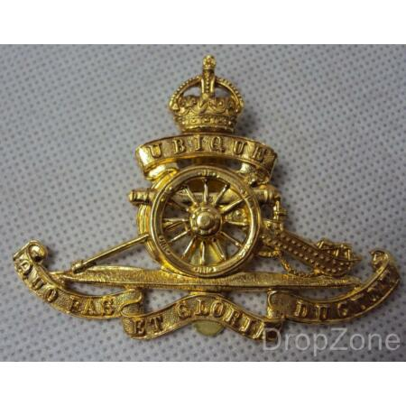 img-Reproduction WWII King's Crown Royal Artillery Cap Badge KC