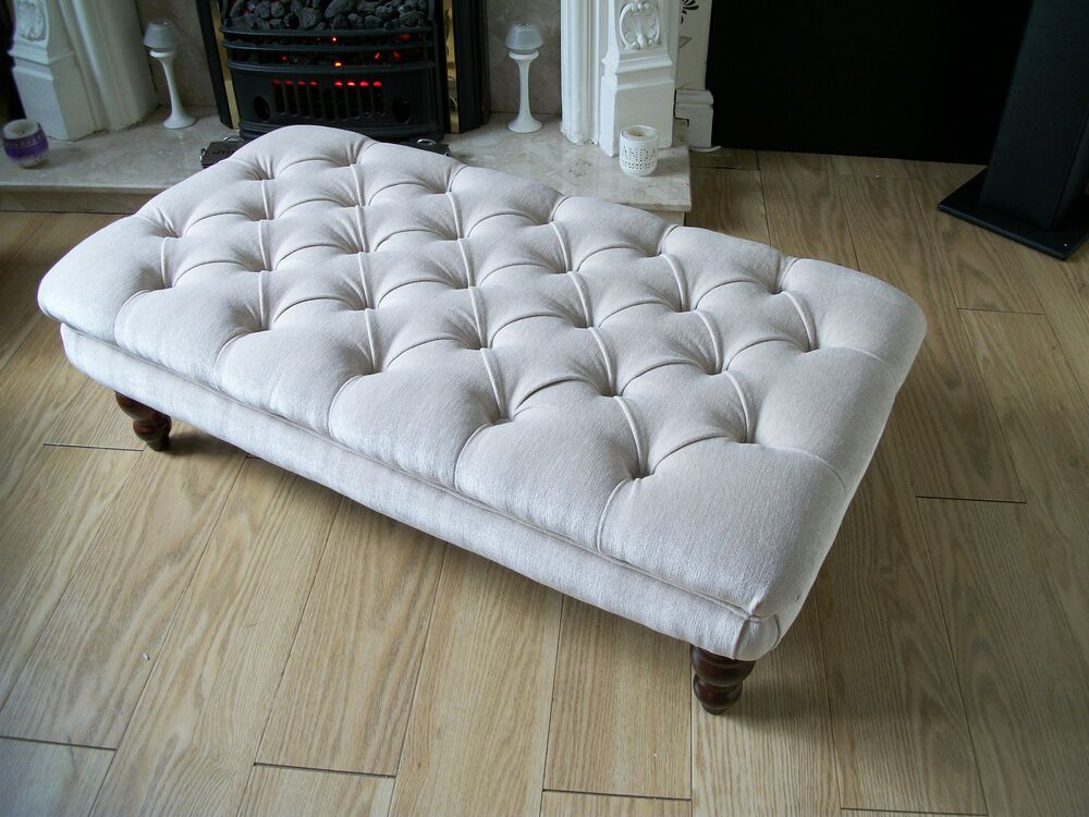 Chesterfield Style Oxford Deep Buttoned Large Footstool Coffee Table Ottoman Ebay