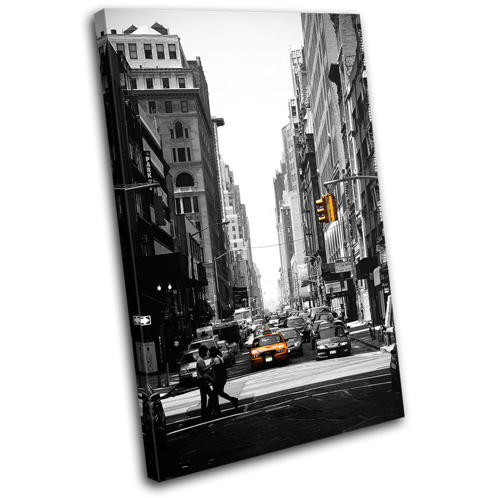 New York City Picture Canvas Painting Modern Wall Art: New York Taxi Street City CANVAS WALL ART Picture Print VA