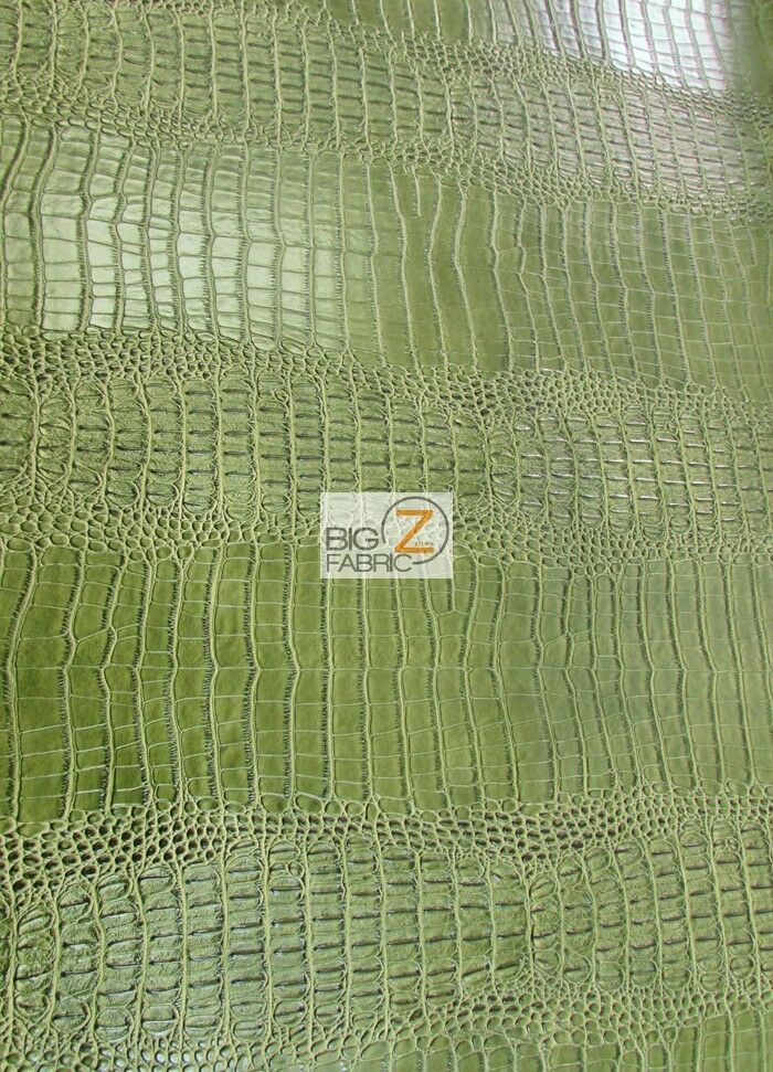 big nile crocodile leather vinyl fabric kiwi green upholstery by the yard ebay. Black Bedroom Furniture Sets. Home Design Ideas