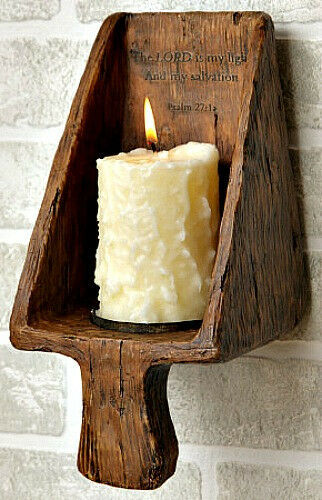 Country Wall Sconce Candle Holder : Primitive Country Colonial Grain Scoop Candle Holder Wall Sconce Treenware eBay