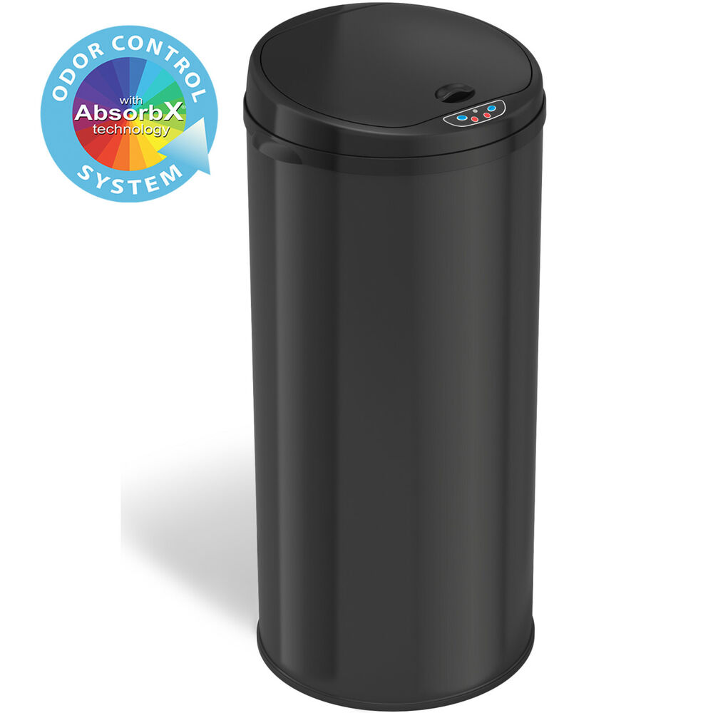13 Gallon Trash Can Round Stainless Steel Touch free