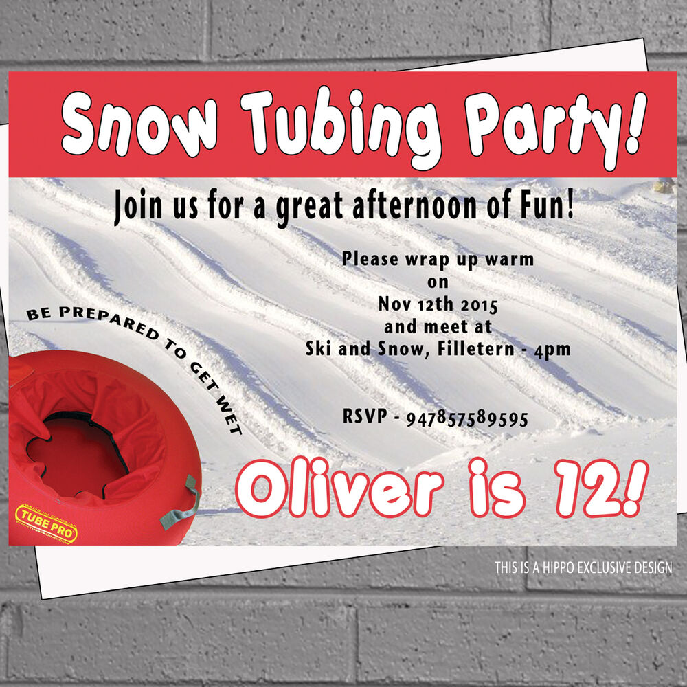 Personalised Childrens Birthday Party Invitations Snow Tubing X 12