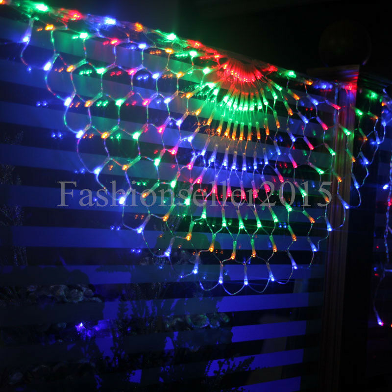 504led colorful peacock curtain lights wedding party for Led christmas decorations