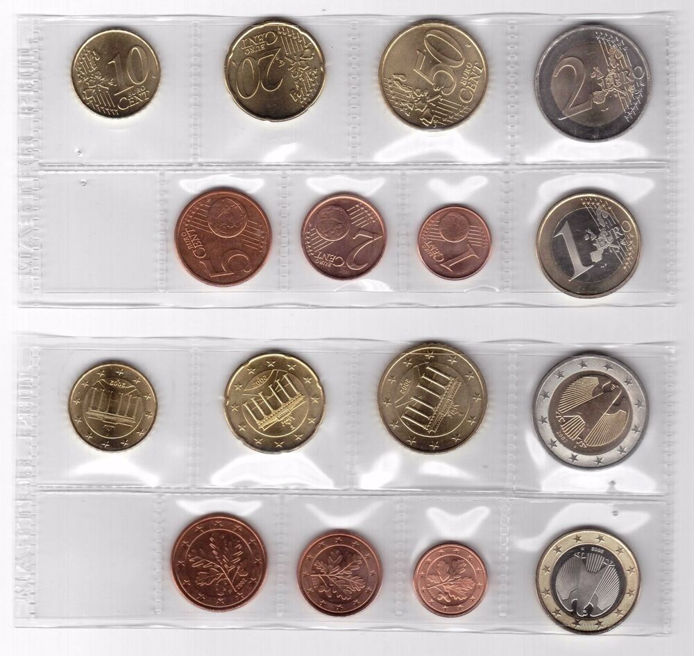 germany first issue 8 dif unc coins full set 1 cent 2 euro 2002 year ebay. Black Bedroom Furniture Sets. Home Design Ideas