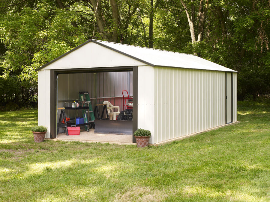 Vinyl murryhill 14x21 arrow storage building shed kit for Storage shed overhead door