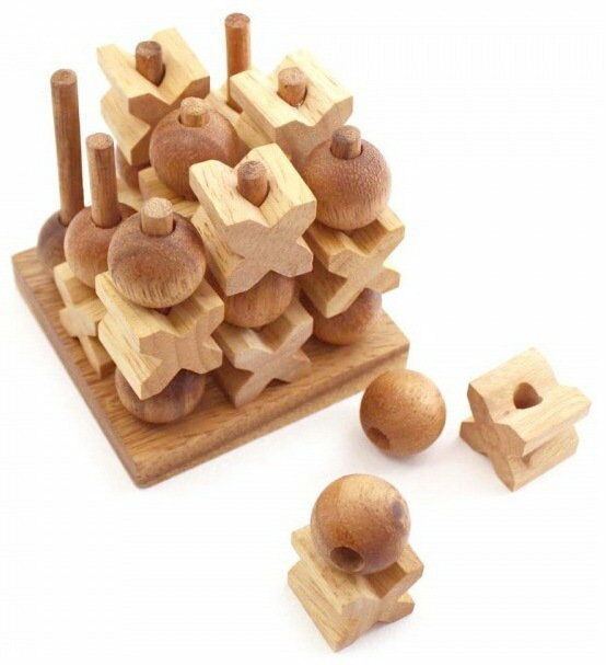 TIC TAC TOE TOY WOODEN BABY 3D GAME O X CROSS BOARD KIDS ...
