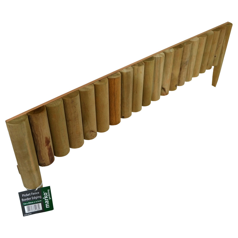 1M PICKET FENCE BORDER PANEL EDGE LOG ROLL GARDEN OUTDOOR LAWN