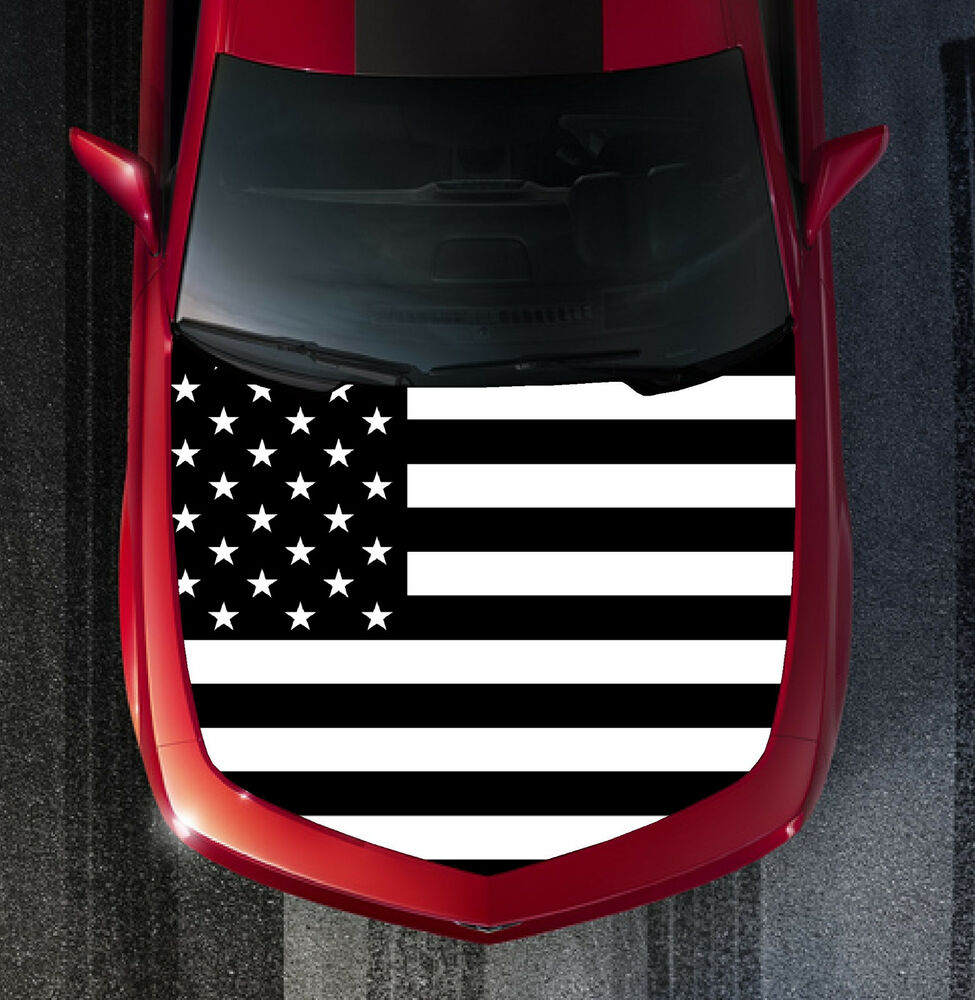 H54 Black American Flag Hood Wrap Wraps Decal Sticker Tint