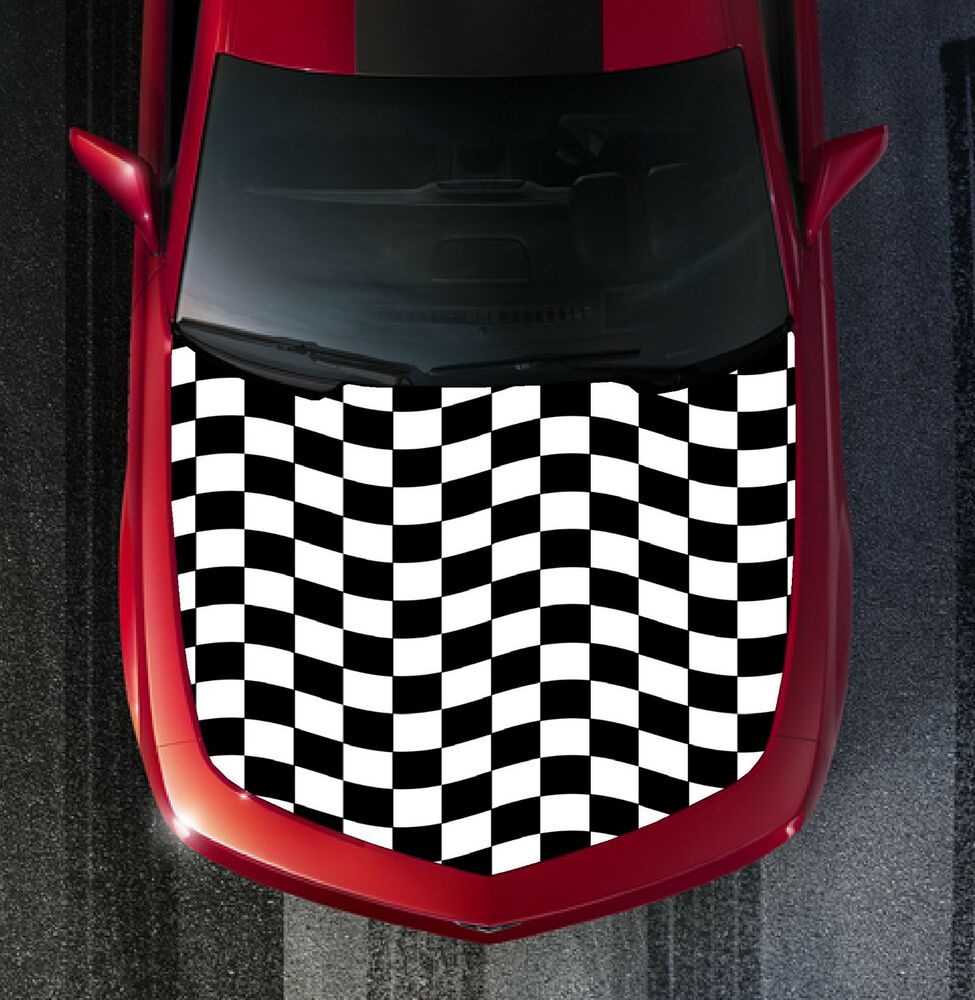 H64 Checkered Flag Hood Wrap Wraps Decal Sticker Tint