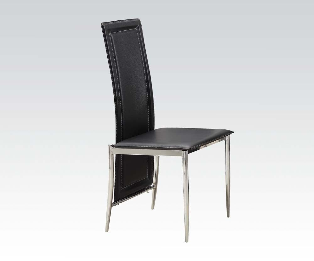 Stylish modern high back black color chrome legs dining for Modern high back dining chairs
