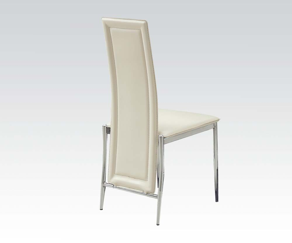 Chrome legs modern high back cream pu dining chairs for Modern high back dining chairs