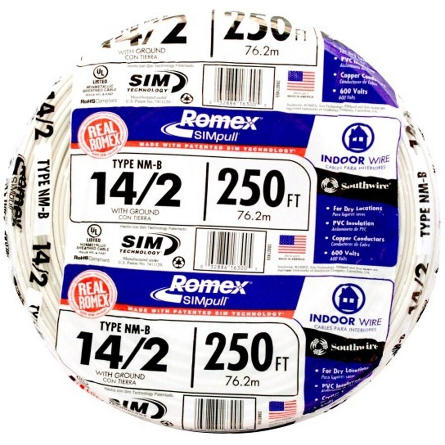 Romex Solid Copper Wiresouthwire Electrical Cable 1000 Ft 12 2 Simpull Nmb Wire28828201 The Home Depot 250 Roll 14 Awg Nm B Gauge Indoor