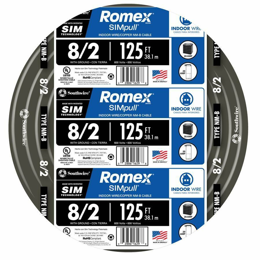 125 ft roll 8 2 awg gauge indoor house electrical copper wire ground romex cable ebay. Black Bedroom Furniture Sets. Home Design Ideas
