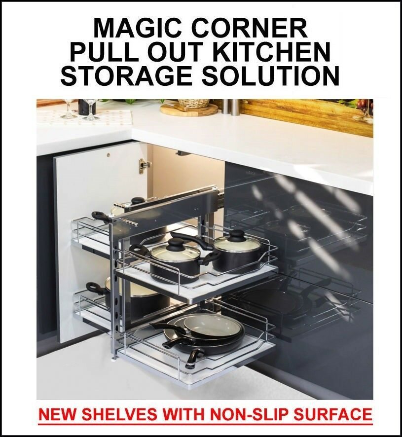 Magic corner pull out kitchen storage solution new shelves - Magic corner cabinet ...