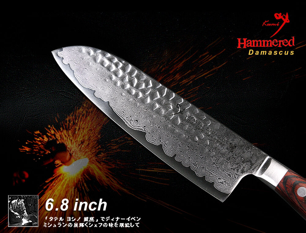 handmade damascus vg10 steel chef 39 s santoku knife 6 8 inch full tang hammered ebay. Black Bedroom Furniture Sets. Home Design Ideas