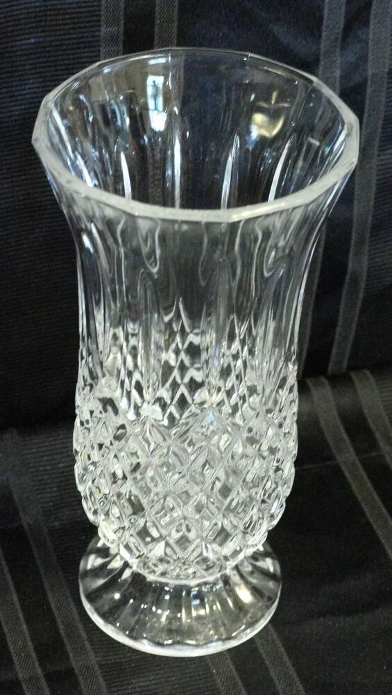 "Diamond Point CRYSTAL VASE Footed 9 3/4"" Tall Clear Glass ..."