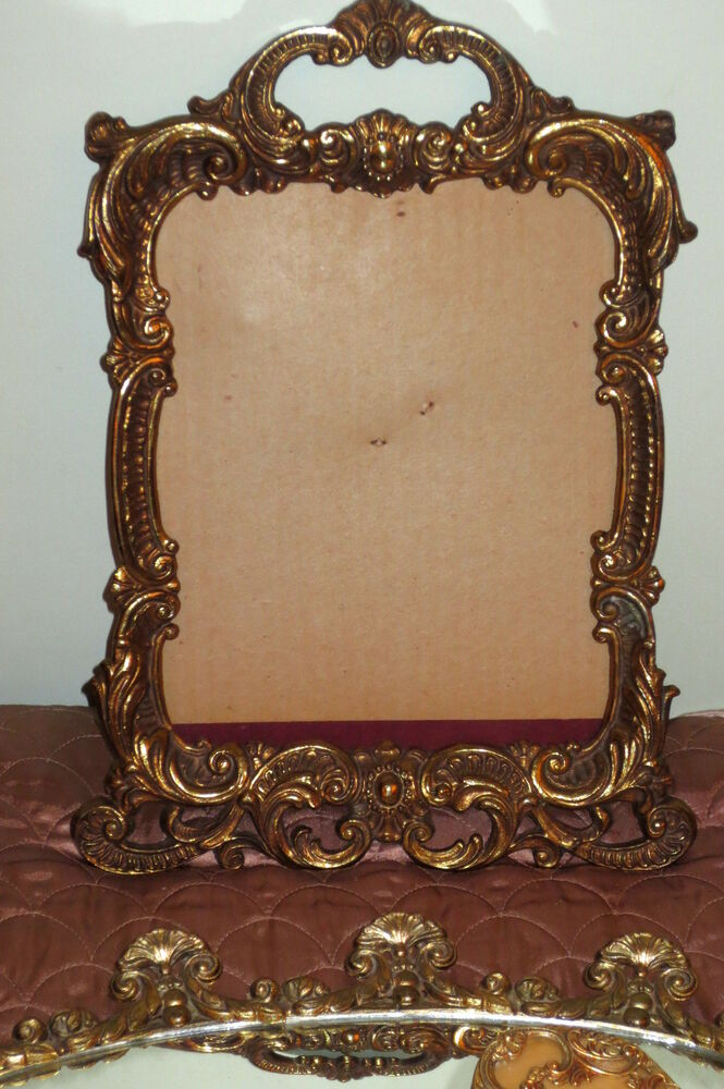 Antique picture frame french ormolu heavy bronze ornate for Rococo style frame