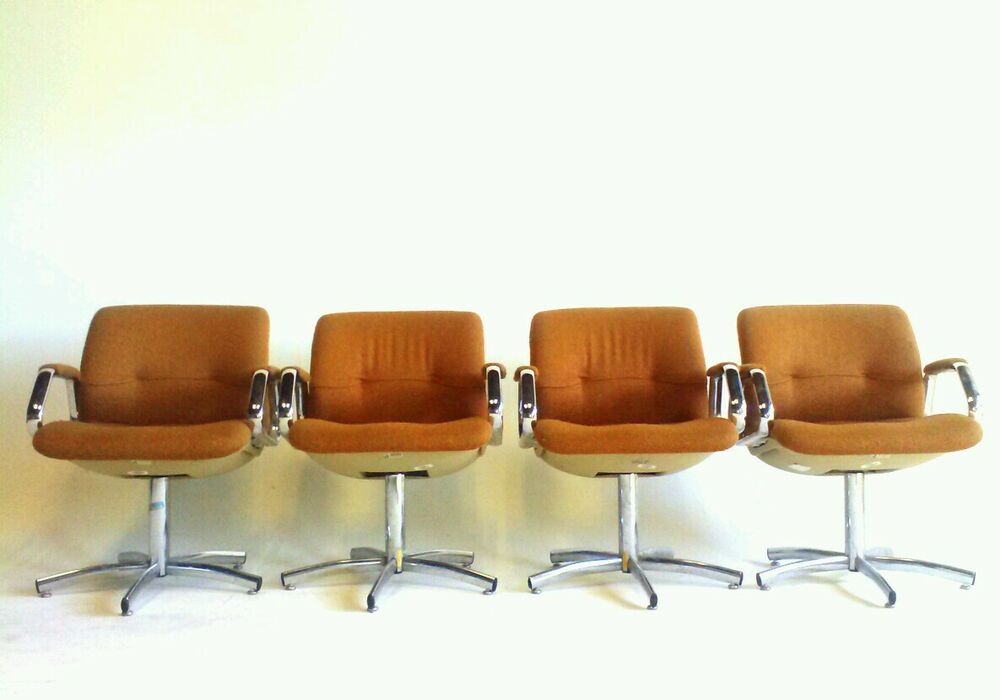 4 orange chrome vintage century danish modern chairs for Retro modern dining chairs