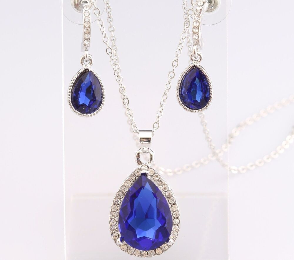 sapphire necklace and earrings set teardrop necklace earrings set sapphire blue swarovski 7208