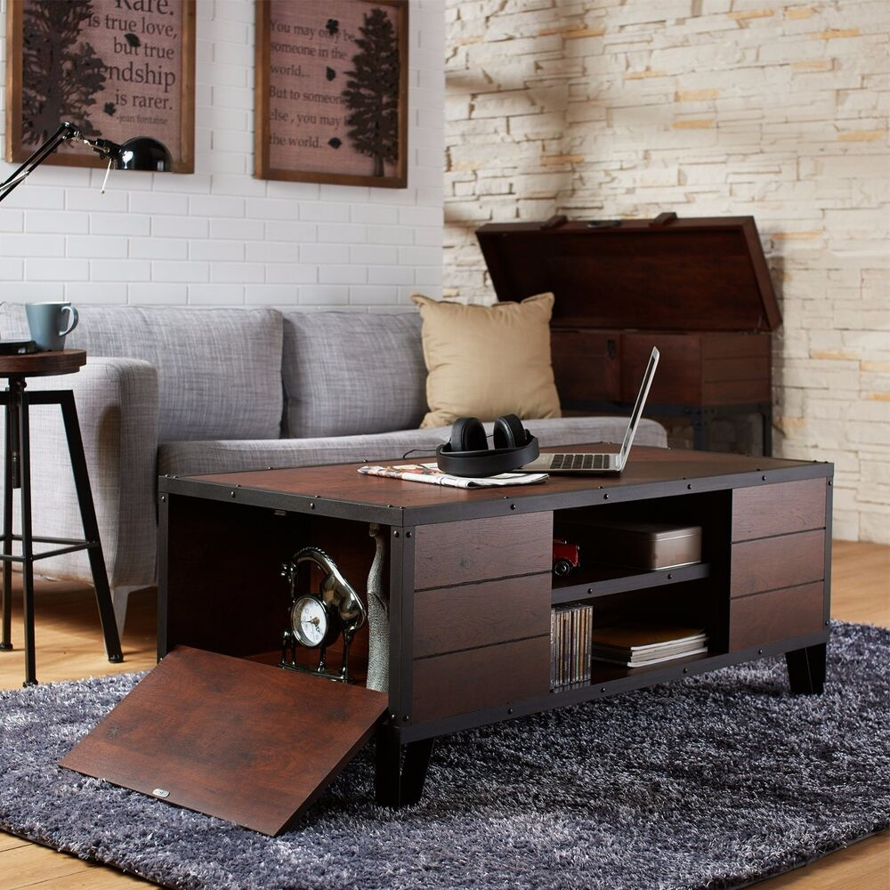 Storage End Tables For Living Room: Coffee Table Accent Metal Wood Vintage Living Room