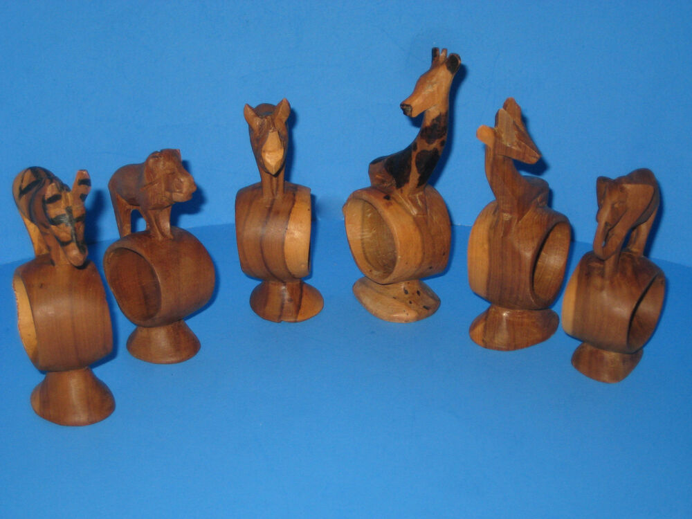 Napkin rings hand carved solid wood vintage animals