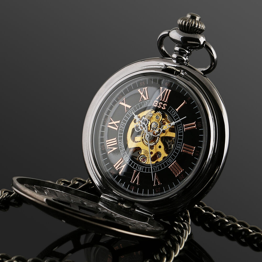 Black Antique Mechanical Skeleton Steampunk Mens Pocket ...