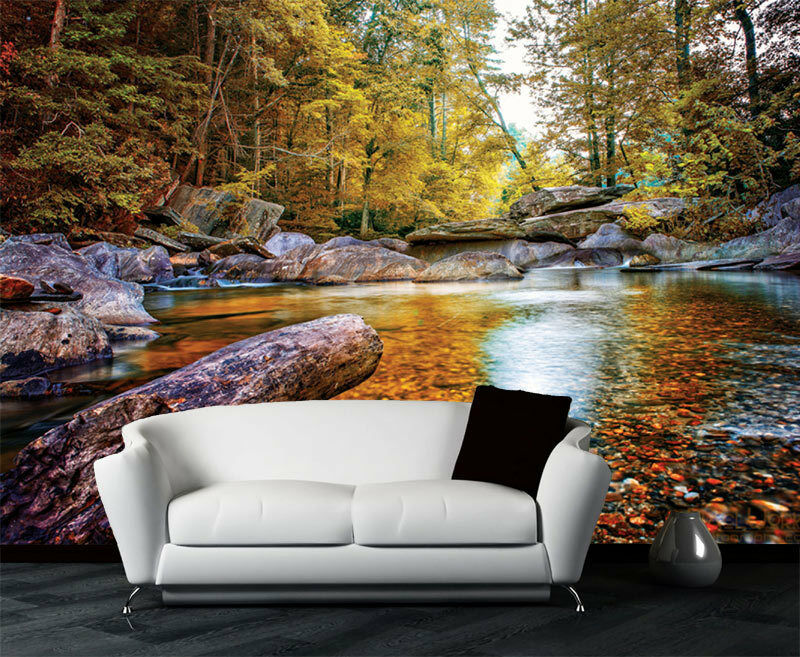 Rock River Forest Trees Stone Full Wall Mural Photo