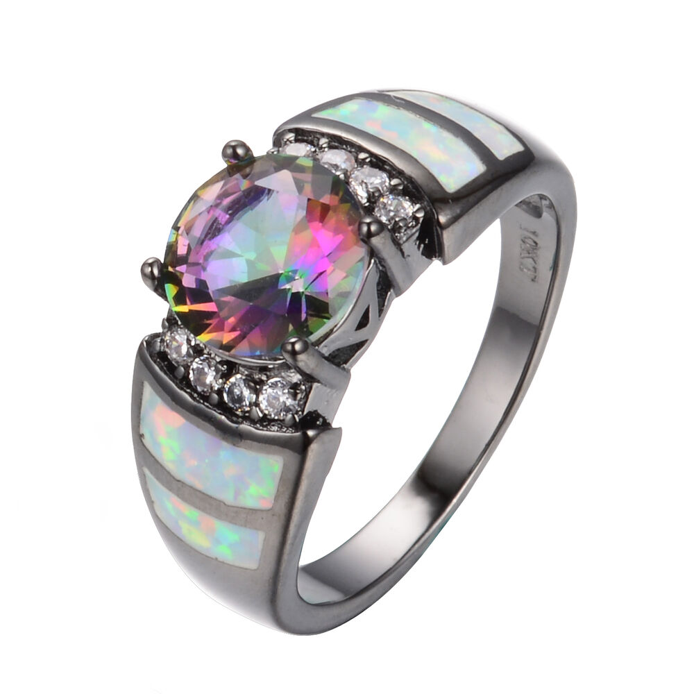 Rainbow Wedding Rings: Round Cut Mystic Rainbow Topaz Opal Wedding Band Rings