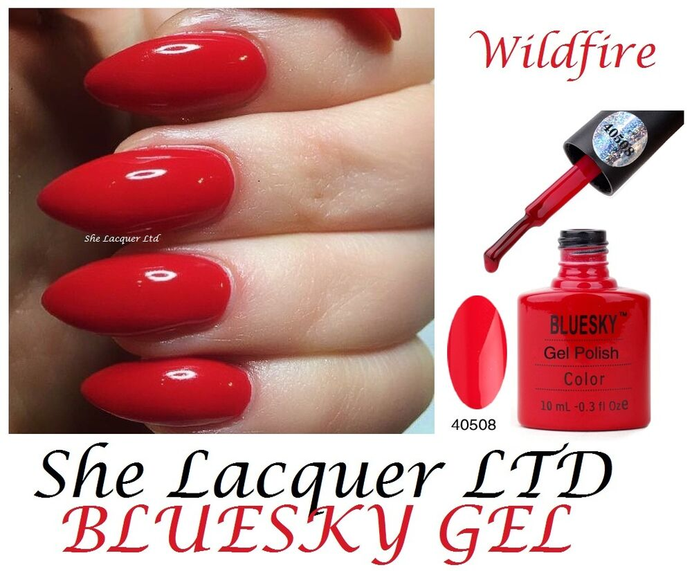 Bluesky WILDFIRE BRIGHT RED CREAM GEL 80508 UV LED GEL NAIL POLISH ...