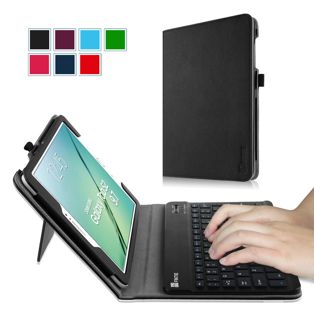 Folio Stand Case Cover Bluetooth Keyboard For Samsung