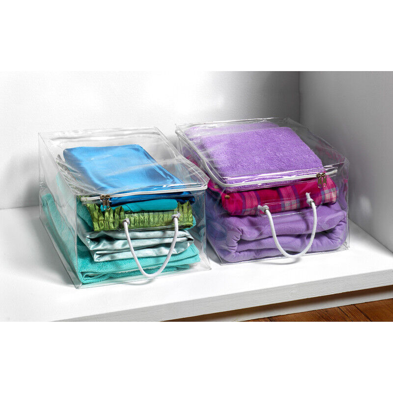 Clear Plastic Zip Storage Chests Bags Extra Long Under Bed