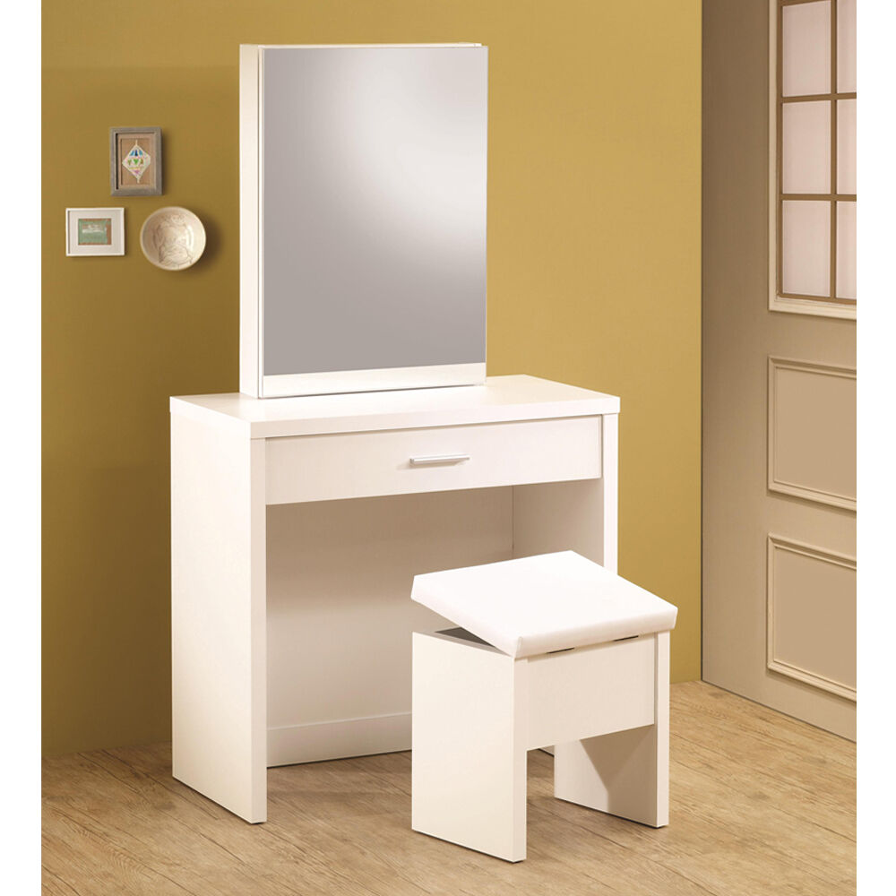 Glossy white vanity makeup table set w hidden mirror for Vanity table set