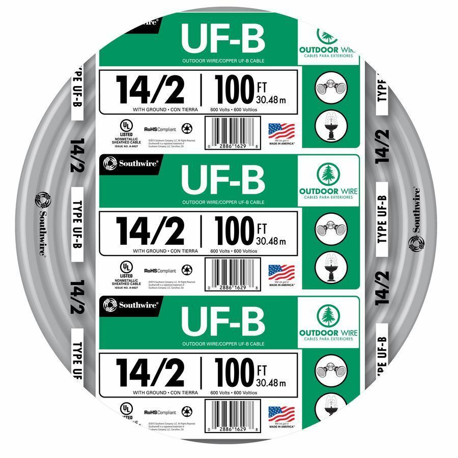 100\' Roll 14-2 AWG UFB Gauge Outdoor Burial Electrical Feeder Copper ...