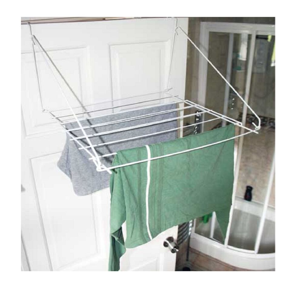 over door folding airer drying rack towel rail laundry hanger clothes dryer ebay. Black Bedroom Furniture Sets. Home Design Ideas