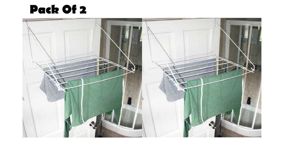 2 x over door folding airer drying rack towel rail laundry hanger clothes dryer ebay. Black Bedroom Furniture Sets. Home Design Ideas