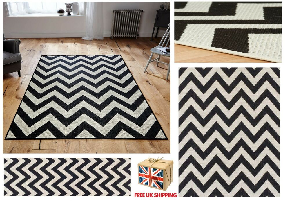 All Sizes Chevron Malmo Utility Rugs Hall Runners Zig Zag Monochrome Rug Black Ebay