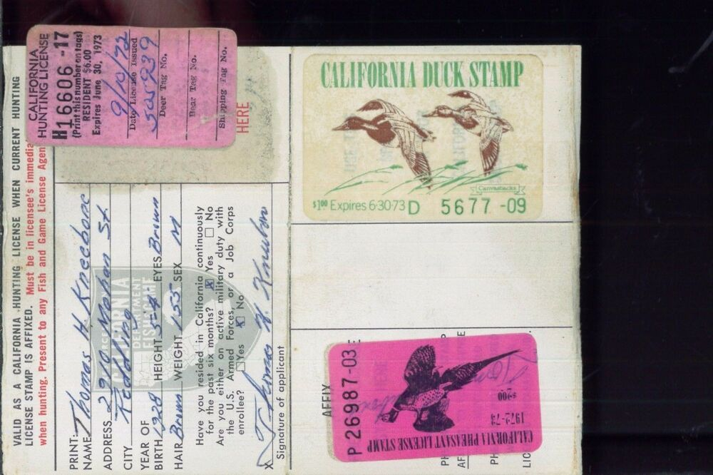 California duck stamp rw39 ca 2 used on 1972 hunting for Where to buy california fishing license