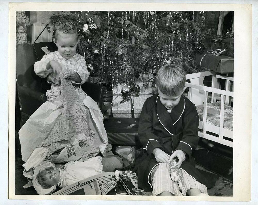 1950 Christmas Toys For Boys : S b w photo christmas day boy and girl look at gifts