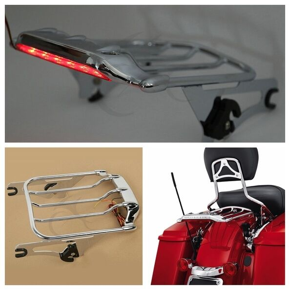 Chrome Air Wing Two Up Luggage Rack W Led Tail Light For