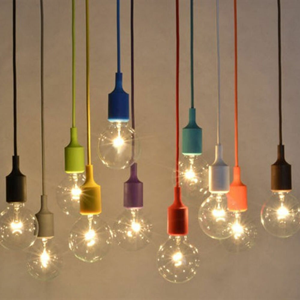 Silicone e27 home diy ceiling pendant lamp light bulb for Hanging light bulbs diy