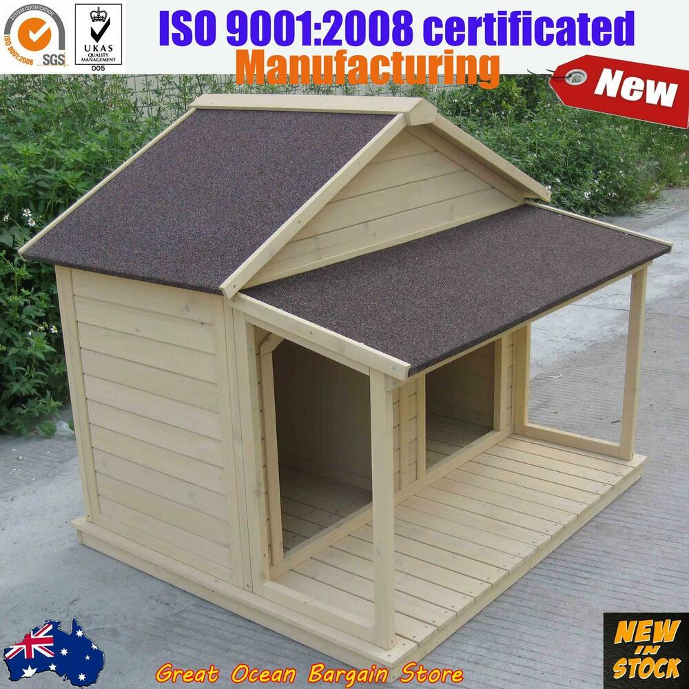 Timber dog kennel wooden pet house double cage large dual for Large dog house with porch